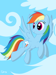 Size: 1936x2592 | Tagged: safe, artist:thebrokencog, rainbow dash, pegasus, pony, cloud, female, flying, looking back, mare, multicolored hair, sky, smiling, solo