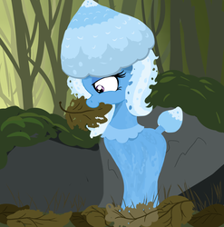 Size: 1569x1587 | Tagged: safe, artist:paskanaakka, derpibooru exclusive, trixie, mushroom pony, original species, eating, forest, leaves, mushroom, nom, rock, shroomsie, solo, species swap