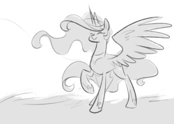 Size: 1280x913 | Tagged: safe, artist:egophiliac, princess celestia, alicorn, pony, moonstuck, ask, cute, cutelestia, eyes closed, female, grayscale, happy, mare, monochrome, raised hoof, simple background, sketch, smiling, solo, spread wings, tumblr, white background, wings
