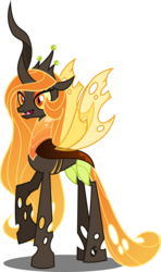 Size: 3558x6000 | Tagged: absurd res, alternate universe, artist:orin331, changeling, changelingified, changeling queen, fangs, orange changeling, princess celestia, princess chryslestia, raised hoof, safe, simple background, smiling, solo, species swap, transparent background