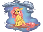 Size: 1400x1050 | Tagged: safe, artist:saoiirse, fluttershy, pegasus, pony, crying, cute, female, painted, rain, sad, solo, sticker