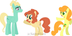 Size: 800x397 | Tagged: safe, artist:t-aroutachiikun, carrot top, golden harvest, zephyr breeze, oc, oc:nirvana, pegasus, pony, base used, female, mare, offspring, parent:carrot top, parent:zephyr breeze, simple background, transparent background, zephyrtop