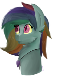 Size: 1003x1291 | Tagged: safe, artist:sprinkledashyt, oc, oc only, oc:whirlwind, pegasus, pony, bust, cheek fluff, ear fluff, jewelry, mood necklace, necklace, normal, painting, simple background, slit eyes, solo, transparent background