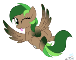 Size: 1280x1024 | Tagged: safe, artist:iheartjapan789, oc, oc only, oc:skuld, pegasus, pony, female, mare, on back, one eye closed, simple background, solo, spread wings, tongue out, transparent background, wings, wink