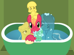 Size: 2862x2123 | Tagged: safe, artist:badumsquish, derpibooru exclusive, big macintosh, oc, oc:warm waters, oc:zesty suds, earth pony, goo pony, object pony, original species, pony, soap pony, sponge pony, wash cloth pony, water pony, bath, bathtub, bedroom eyes, big macintosh gets all the mares, bubble, female, forced bathing, grin, looking at you, male, nervous, one eye closed, ponified, smiling, soap, sponge, squishy cheeks, straight, wash cloth, water, wink