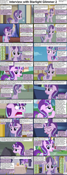 Size: 1282x3304 | Tagged: safe, starlight glimmer, pony, unicorn, comic:celestia's servant interview, blushing, caption, cs captions, female, interview, looking at you, mare, ponyville, twilight's castle