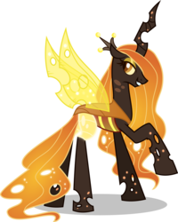 Size: 6799x8500 | Tagged: absurd res, alternate universe, artist:limedazzle, changeling, changelingified, changeling queen, eyeshadow, looking back, makeup, orange changeling, princess celestia, princess chryslestia, raised hoof, redesign, safe, simple background, solo, species swap, transparent background