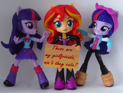 Size: 1200x900   Tagged: safe, artist:whatthehell!?, edit, editor:alexlayer, sci-twi, sunset shimmer, twilight sparkle, equestria girls, doll, eqg minis sunset's sign, equestria girls minis, female, irl, lesbian, photo, scitwishimmer, self paradox, shipping, sunset twiangle, sunsetsparkle, toy, twolight