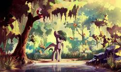 Size: 3000x1800 | Tagged: safe, artist:freeedon, color edit, oc, oc only, oc:minty kitty, butterfly, pegasus, pony, backlighting, colored, crepuscular rays, forest, grass, lake, reflection, rock, scenery, smiling, solo