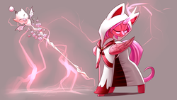 Size: 3840x2160   Tagged: safe, artist:underpable, oc, oc only, oc:cherry bloom, alicorn, moogle, pony, alicorn oc, cloak, clothes, commission, curved horn, eyes closed, female, final fantasy, glowing horn, magic, mare, simple background, smiling, solo, staff, white mage