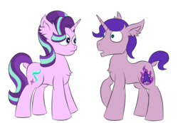 Size: 1300x900 | Tagged: artist:raktor, awkward, chest fluff, derpibooru exclusive, ear fluff, female, look-alike, male, mare, oc, oc:northern flame, pony, safe, simple background, stallion, starlight glimmer, transparent background, unicorn