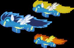 Size: 4627x3000   Tagged: safe, artist:brony-works, blaze, blue blazes, surprise, pony, absurd resolution, flying, simple background, transparent background, vector, wonderbolts