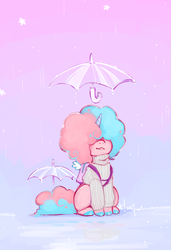 Size: 683x1000 | Tagged: safe, artist:stardrawsponies, oc, oc only, oc:sugarush, food pony, original species, pony, unicorn, afro, ambiguous gender, backpack, clothes, food, horn, rain, simple background, smiling, solo, sweater, umbrella