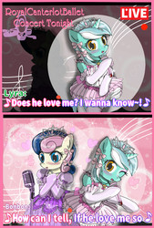 Size: 2400x3550 | Tagged: safe, artist:avchonline, bon bon, lyra heartstrings, sweetie drops, earth pony, pony, unicorn, bipedal, blushing, bow, canterlot royal ballet academy, cher, clothes, comic, dress, duo, grammar error, hair bow, heart, jewelry, microphone, music notes, one eye closed, open mouth, singing, song reference, the shoop shoop song, tiara, wink