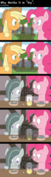 Size: 1200x4160 | Tagged: safe, artist:facelesssoles, applejack, marble pie, pinkie pie, pony, absurd resolution, breaking the fourth wall, comic, food, fourth wall, juice, rock soup, sesquipedalian loquaciousness, soup