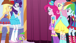 Size: 1920x1080   Tagged: safe, screencap, applejack, fluttershy, pinkie pie, rainbow dash, rarity, spike, dog, equestria girls, equestria girls (movie), boots, bracelet, cowboy boots, fall formal outfits, hat, high heel boots, jewelry, sparkles, spike the dog, this is our big night, top hat, wings