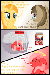 Size: 2032x3016 | Tagged: safe, artist:arifproject, artist:badumsquish, derpibooru exclusive, oc, oc only, oc:albany, oc:dawnsong, oc:downvote, oc:favourite, alicorn, earth pony, pony, derpibooru, cage, derpibooru ponified, dialogue, downvote vs theme, eyes closed, female, floppy ears, frown, glare, glasses, grin, halo, looking at each other, mare, meta, ponified, prone, reply, simple background, smiling, unamused, vector
