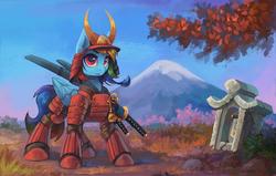 Size: 1400x888 | Tagged: safe, artist:asimos, rainbow dash, pony, armor, female, helmet, katana, looking at you, mountain, samurai, scenery, solo, sword, tree, weapon
