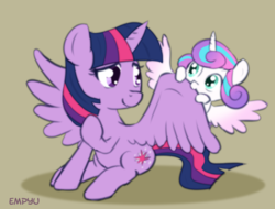 Size: 1000x760 | Tagged: safe, artist:empyu, princess flurry heart, twilight sparkle, alicorn, pony, aunt, aunt and niece, auntie twilight, cute, flurrybetes, nibbling, nom, simple background, smiling, spread wings, twilight sparkle (alicorn), wing noms