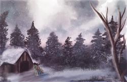 Size: 1024x662 | Tagged: safe, artist:amura-of-jupiter, oc, oc only, oc:hoxie redhoof, oc:morning raindew mist, pony, cabin, duo, forest, scenery, snow, snowfall, tree, walking, winter