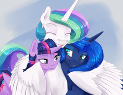Size: 3300x2550 | Tagged: safe, artist:silfoe, princess celestia, princess luna, twilight sparkle, alicorn, pony, bedroom eyes, blushing, cute, cutelestia, eyes closed, female, hug, lesbian, lidded eyes, looking at each other, missing accessory, royal sisters, shipping, smiling, trio, twilight sparkle (alicorn), twiluna, winghug
