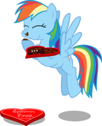Size: 3068x3799 | Tagged: safe, artist:shutterflyeqd, rainbow dash, chocolate, cute, eating, female, food, heart, hearts and hooves day, simple background, solo, transparent background, valentine's day, vector