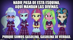 Size: 888x499 | Tagged: safe, edit, edited screencap, screencap, indigo zap, lemon zest, sour sweet, sugarcoat, sunny flare, equestria girls, meme, patito feo, shadow five, shadowbolt comments, song reference, spanish, translated in the comments, translation request