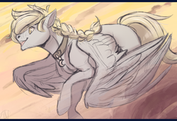 Size: 1566x1070 | Tagged: artist:1an1, braid, charm, cloud, collar, derpibooru exclusive, flying, male, oc, oc only, oc:windswept skies, open mouth, pegasus, pony, raised hoof, safe, smiling, solo, spread wings, stallion, wings, yellow eyes