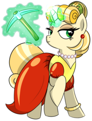 Size: 1229x1614 | Tagged: safe, artist:x-blackpearl-x, pony, unicorn, female, goldie o'gilt, jewelry, levitation, magic, necklace, pearl necklace, pickaxe, ponified, raised hoof, simple background, solo, telekinesis, the life and times of scrooge mcduck, transparent background