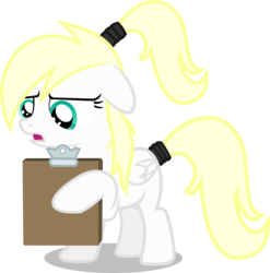 Size: 2000x2026 | Tagged: safe, artist:tuesday, oc, oc only, oc:luftkrieg, pegasus, pony, aryan, aryan pony, blank flank, blonde, clipboard, concerned, female, filly, floppy ears, folded wings, frown, hairband, holding, nazipone, ponytail, reading, show accurate, simple background, standing, transparent background, vector, wings