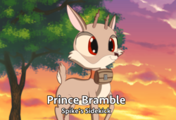 Size: 4430x3013 | Tagged: absurd res, anime, artist:chiptunebrony, barrel, bramble, collar, deer, english, fake, pony, safe, smiling, solo, subtitles, sunset, text, tree