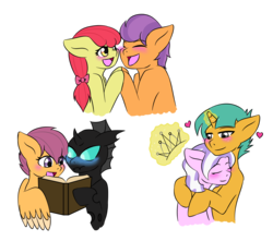 Size: 2400x2123 | Tagged: apple bloom, artist:jolliapplegirl, blushing, changeling, cute, diamondbetes, diamondsnail, diamond tiara, earth pony, female, kevaloo, kevin (changeling), male, pegasus, pony, safe, scootaloo, shipping, snails, snuggling, straight, tenderbloom, tender taps, unicorn