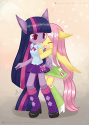 Size: 1075x1512   Tagged: safe, artist:howxu, fluttershy, twilight sparkle, anthro, blushing, boots, bowtie, clothes, colored pupils, cute, equestria girls outfit, eyes closed, female, floppy ears, high heel boots, leg warmers, lesbian, looking back, open mouth, pony ears, ponytail, shipping, shyabetes, skirt, tanktop, twishy, wings