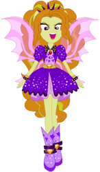 Size: 340x582   Tagged: safe, artist:ra1nb0wk1tty, adagio dazzle, equestria girls, rainbow rocks, boots, bracelet, female, fin wings, high heel boots, jewelry, looking at you, music notes, pendant, ponied up, pony ears, simple background, solo, sparkles, spikes, white background, wings