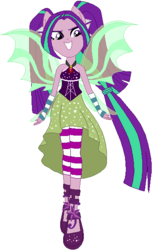 Size: 361x592 | Tagged: safe, artist:ra1nb0wk1tty, aria blaze, equestria girls, rainbow rocks, clothes, female, fin wings, fingerless gloves, gloves, high heels, jewelry, looking at you, pendant, ponied up, pony ears, ponytail, simple background, sleeveless, solo, sparkles, white background, wings