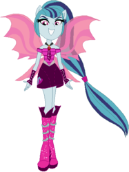 Size: 423x565 | Tagged: safe, artist:ra1nb0wk1tty, sonata dusk, equestria girls, rainbow rocks, boots, clothes, female, fin wings, fingerless gloves, gloves, high heel boots, jewelry, looking at you, necktie, pendant, ponied up, pony ears, ponytail, simple background, skirt, solo, sparkles, white background, wings