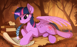 Size: 2440x1485 | Tagged: safe, artist:yakovlev-vad, twilight sparkle, alicorn, pony, art, blanket, book, cheek fluff, chest fluff, ear fluff, female, fluffy, forest, glowing horn, grass, letter, levitation, magic, mare, paper, prone, quill, scroll, shoulder fluff, smiling, solo, telekinesis, this will end in pain and/or death, this will end in vore, tree, twilight sparkle (alicorn), wing fluff, writing