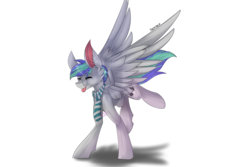 Size: 6000x4000 | Tagged: absurd res, artist:midnight-auralipse, clothes, happy, male, oc, oc only, oc:storm feather, on front legs, pegasus, pony, safe, scarf, simple background, smiling, stallion, tongue out, transparent background