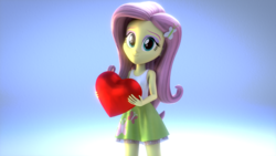 Size: 1920x1080 | Tagged: safe, artist:efk-san, fluttershy, equestria girls, 3d, clothes, cute, female, hairpin, heart, looking at you, shyabetes, skirt, sleeveless, smiling, solo, source filmmaker, tanktop
