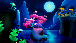 Size: 1920x1080 | Tagged: safe, screencap, princess luna, alicorn, pony, do princesses dream of magic sheep, cute, dream, dreamscape, eyes closed, female, flower, giant flower, giant mushroom, glowing flower, glowing mushroom, happy, luna's dream, mare, moon, mushroom, night, pond, prone, scenery, scenery porn, sleeping, smiling, solo, surreal, waterfall