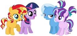 Size: 13488x6320 | Tagged: absurd res, artist:suramii, counterparts, female, filly, filly starlight, filly sunset, filly trixie, filly twilight sparkle, magical quartet, magical trio, mare, pony, safe, simple background, starlight glimmer, sunset shimmer, transparent background, trixie, twilight's counterparts, twilight sparkle, unicorn, vector, younger
