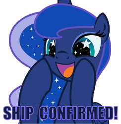 Size: 692x708 | Tagged: safe, artist:drawcreator, artist:evilfrenzy, edit, princess luna, alicorn, pony, adorable face, cute, female, implied shipping, luna the shipper, mare, meme, open mouth, shipper on deck, simple background, smiling, solo, squee, starry eyes, text, white background, wingding eyes