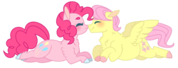 Size: 1024x393 | Tagged: artist:s1nb0y, butterpie, butterscotch, earth pony, eyes closed, female, fluttershy, male, oc, pegasus, pinkie pie, pony, rule 63, safe, shipping, simple background, smiling, straight, transparent background