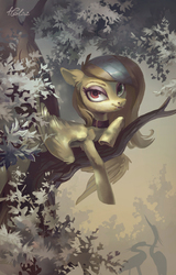 Size: 1889x2952 | Tagged: safe, artist:holivi, oc, oc only, bat pony, pony, bat pony oc, commission, female, solo, tree branch, underhoof