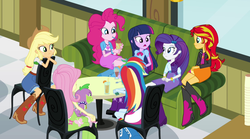 Size: 1280x714 | Tagged: safe, screencap, applejack, fluttershy, pinkie pie, rainbow dash, rarity, spike, sunset shimmer, twilight sparkle, dog, equestria girls, rainbow rocks, boots, bowtie, bracelet, clothes, compression shorts, couch, cowboy boots, cowboy hat, cup, denim skirt, drink, hat, high heel boots, jacket, jewelry, leather jacket, leg warmers, milkshake, skirt, socks, spike the dog, stetson, table