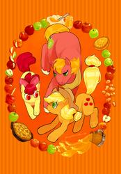 Size: 600x861   Tagged: safe, artist:kirokokori, apple bloom, applejack, big macintosh, pony, apple, apple fritter (food), apple jam, apple pie, apple siblings, cider, food, male, pie