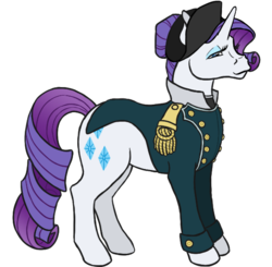Size: 552x542 | Tagged: artist:quoting_mungo, hair bun, hat, military uniform, napoleon bonaparte, pony, rarity, safe, simple background, solo, transparent background, unicorn