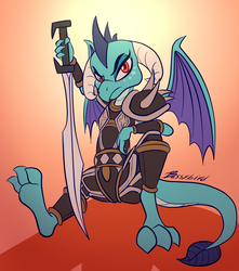 Size: 1500x1700 | Tagged: safe, artist:bassywolfeh, princess ember, dragon, armor, feet, female, looking at you, solo, spread legs, spread wings, spreading, sword, weapon