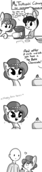 Size: 792x3168 | Tagged: artist:tjpones, c:, cake, cheesecake, comic, cooking, cute, descriptive noise, dilated pupils, earth pony, everything went better than expected, eyes closed, eyes on the prize, female, food, freckles, grayscale, happy, heart, horse noises, horse wife, human, human male, husband and wife, male, mare, meme, monochrome, no bake cheesecake, :o, oc, ocbetes, oc:brownie bun, oc:ms. trottopolis, oc only, oc:richard, open mouth, pony, raised eyebrow, safe, simple background, smiling, sparkles, starry eyes, watching, white background, wingding eyes