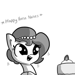 Size: 792x792 | Tagged: safe, artist:tjpones, oc, oc only, oc:brownie bun, earth pony, pony, horse wife, :d, cake, cheesecake, cute, descriptive noise, dilated pupils, eyes on the prize, female, food, grayscale, happy, horse noises, mare, meme, monochrome, no bake cheesecake, ocbetes, open mouth, simple background, single panel, smiling, solo, sparkles, starry eyes, tjpones is trying to murder us, white background, wingding eyes